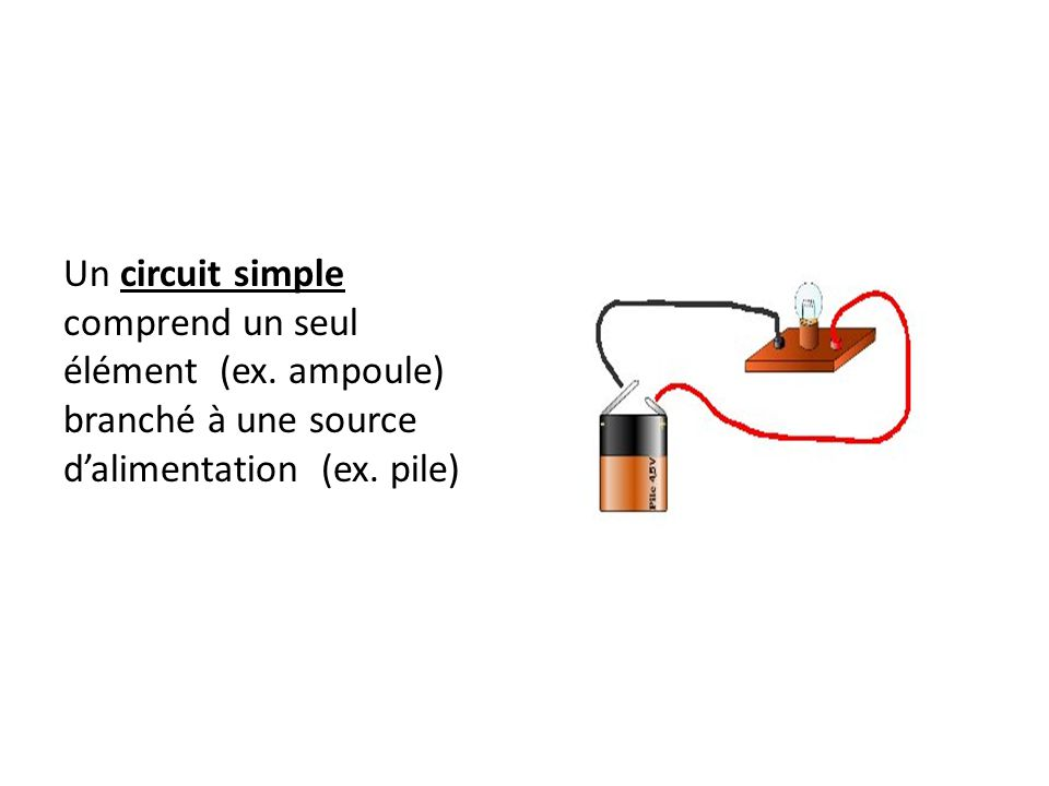 Un circuit simple comprend un seul élément (ex