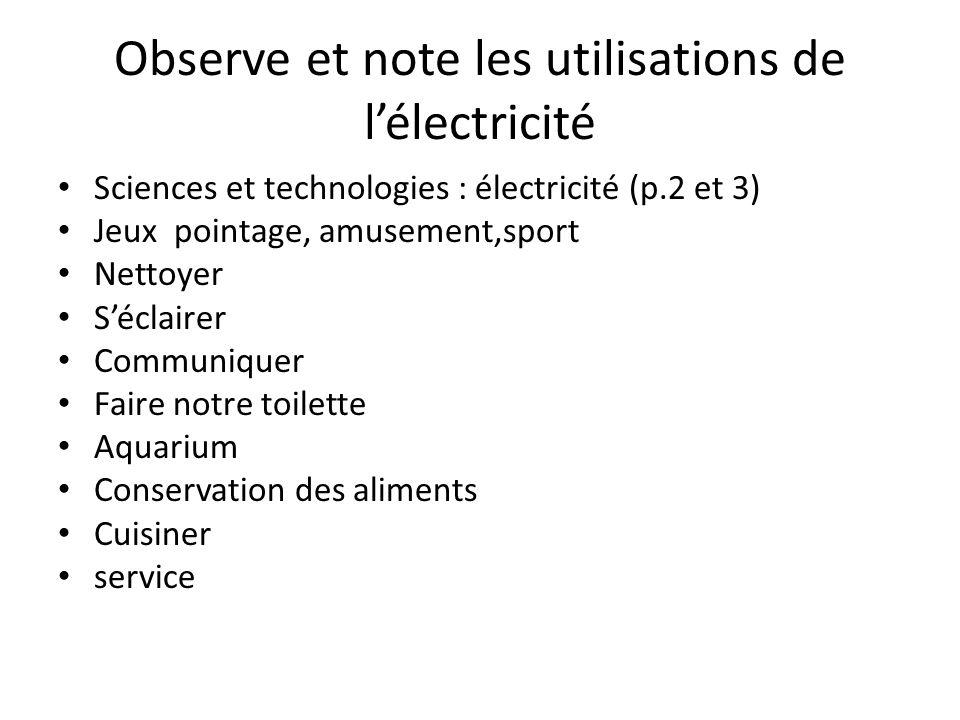 Observe et note les utilisations de l'électricité