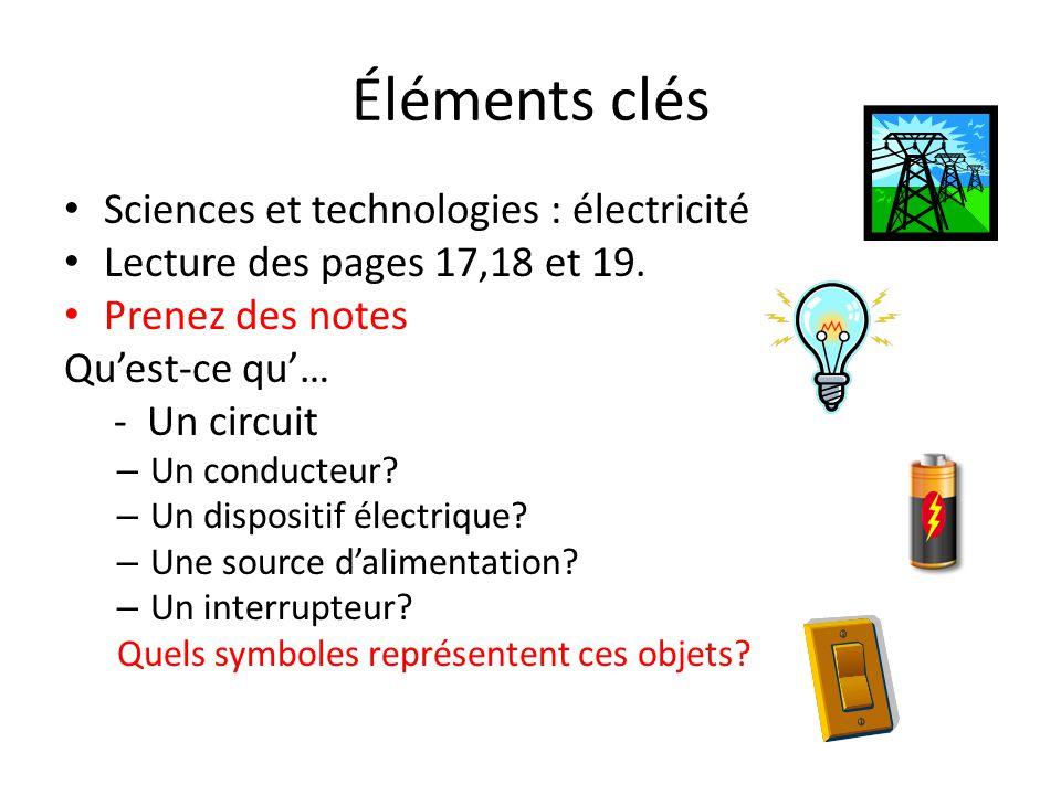 Éléments clés Sciences et technologies : électricité
