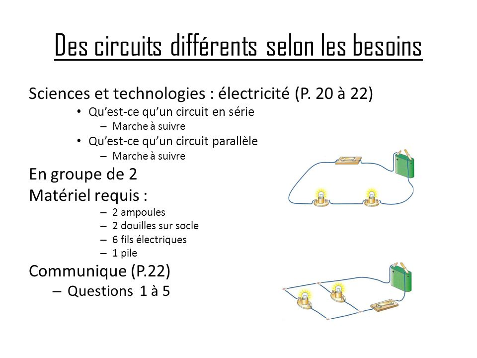 Des circuits différents selon les besoins