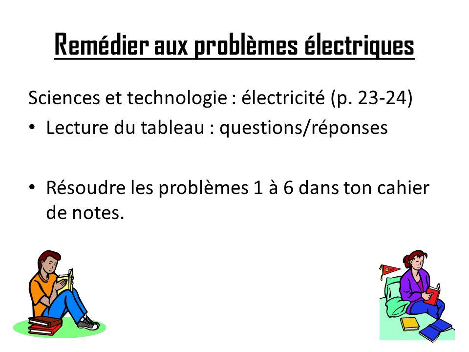 Remédier aux problèmes électriques