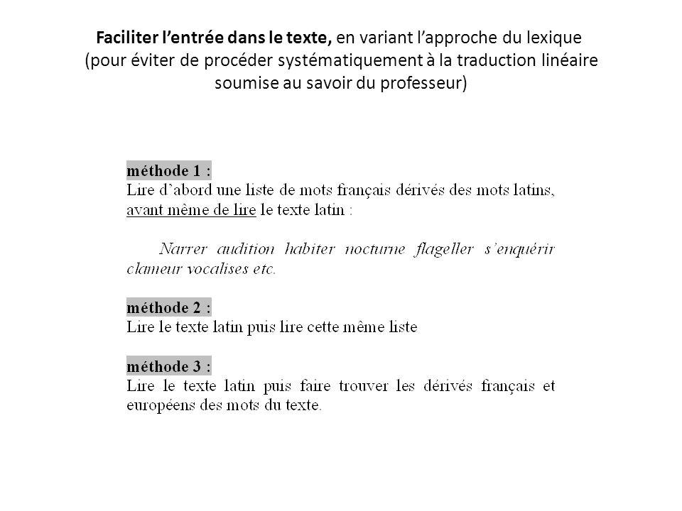 Faciliter l'entrée dans le texte, en variant l'approche du lexique (pour éviter de procéder systématiquement à la traduction linéaire soumise au savoir du professeur)