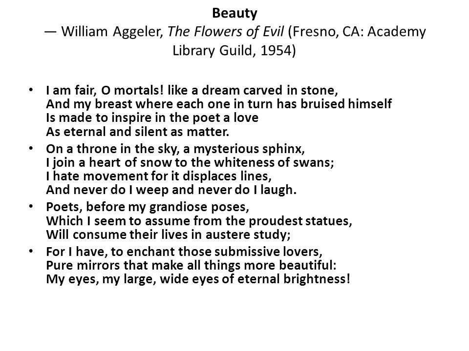 Beauty — William Aggeler, The Flowers of Evil (Fresno, CA: Academy Library Guild, 1954)