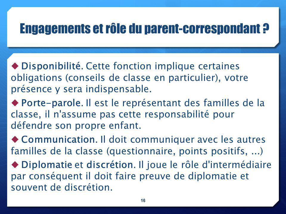 Engagements et rôle du parent-correspondant