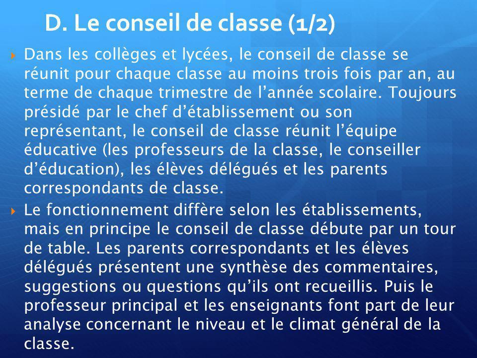 D. Le conseil de classe (1/2)