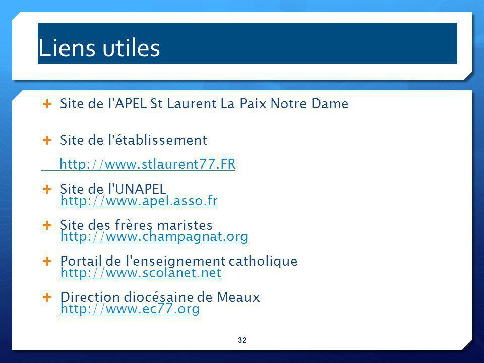 Liens utiles Site de l APEL St Laurent La Paix Notre Dame