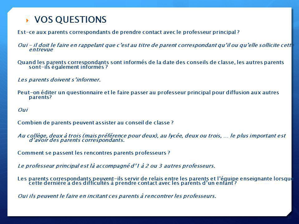 VOS QUESTIONS Est-ce aux parents correspondants de prendre contact avec le professeur principal