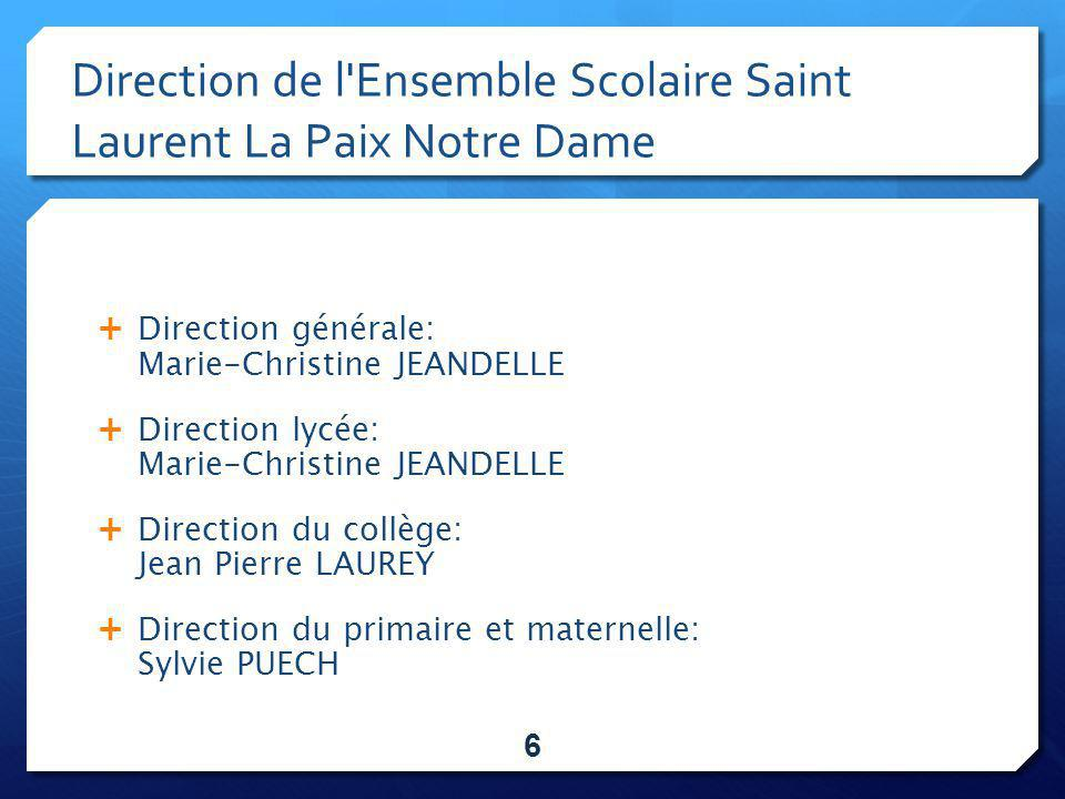 Direction de l Ensemble Scolaire Saint Laurent La Paix Notre Dame