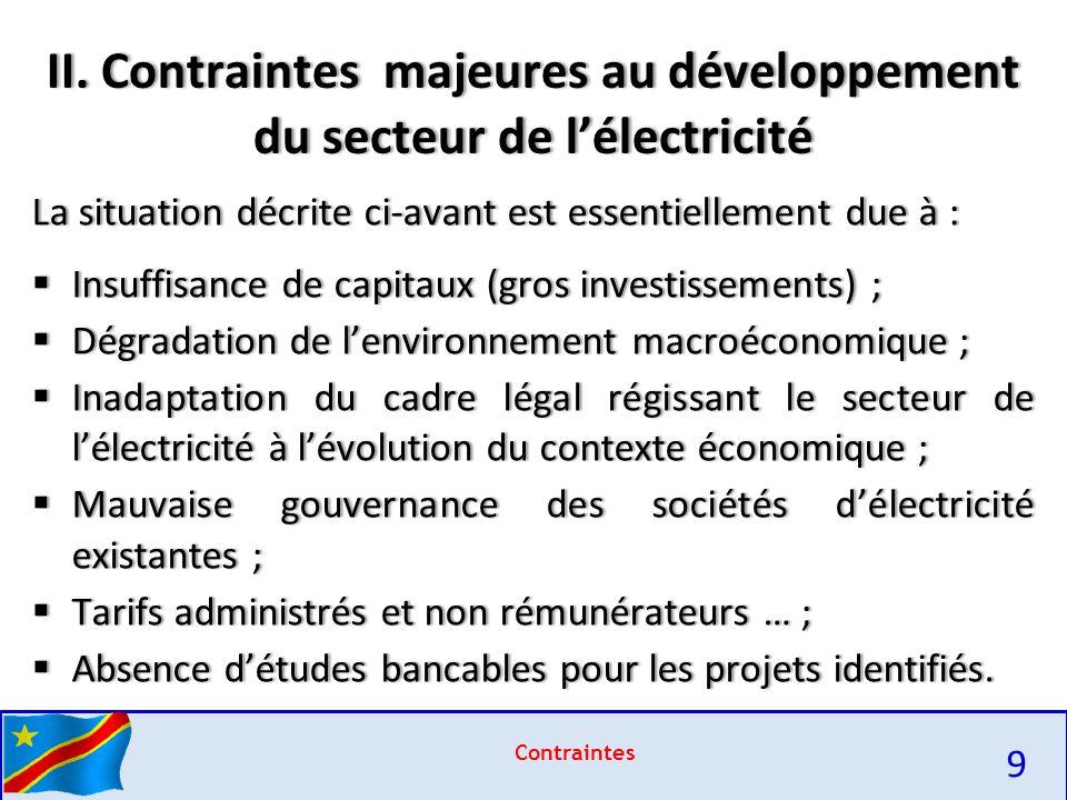 II. Contraintes majeures au développement du secteur de l'électricité