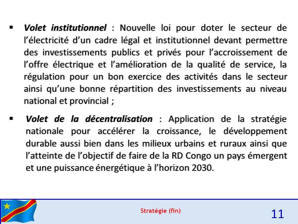 Volet institutionnel : Nouvelle loi pour doter le secteur de l'électricité d'un cadre légal et institutionnel devant permettre des investissements publics et privés pour l'accroissement de l'offre électrique et l'amélioration de la qualité de service, la régulation pour un bon exercice des activités dans le secteur ainsi qu'une bonne répartition des investissements au niveau national et provincial ;