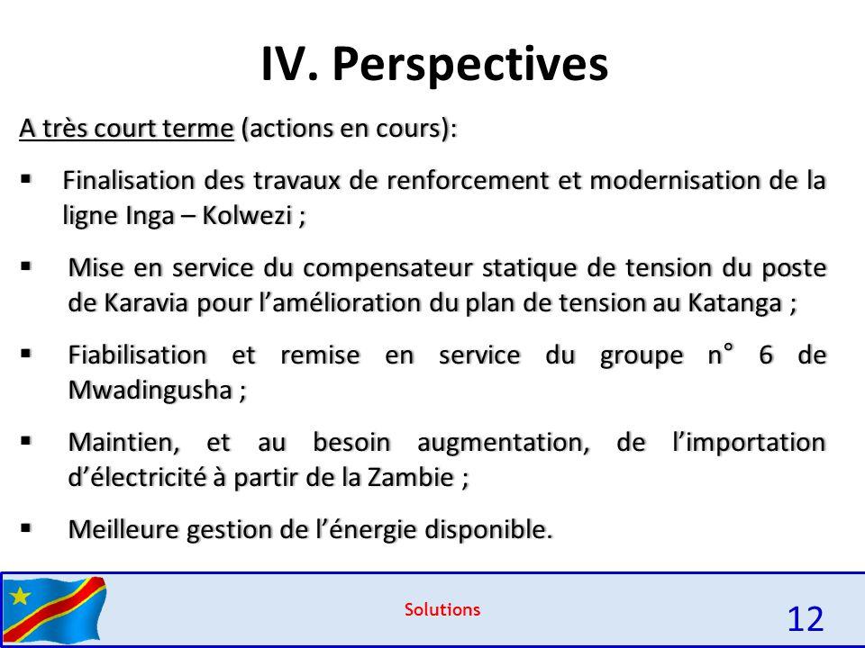 IV. Perspectives 12 A très court terme (actions en cours):