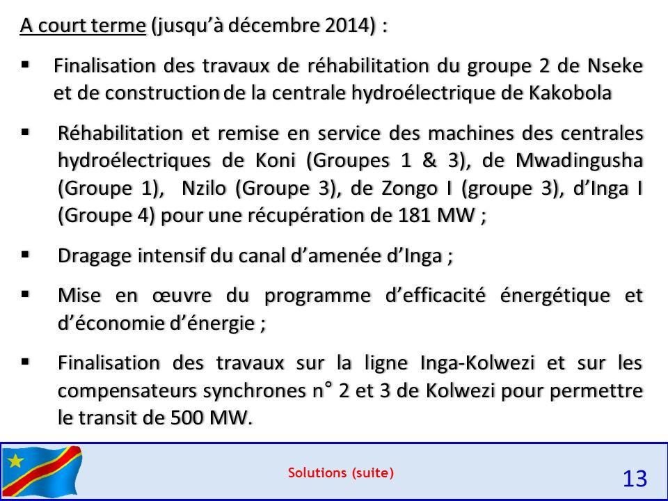 13 A court terme (jusqu'à décembre 2014) :