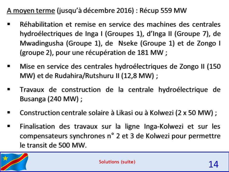 14 A moyen terme (jusqu'à décembre 2016) : Récup 559 MW