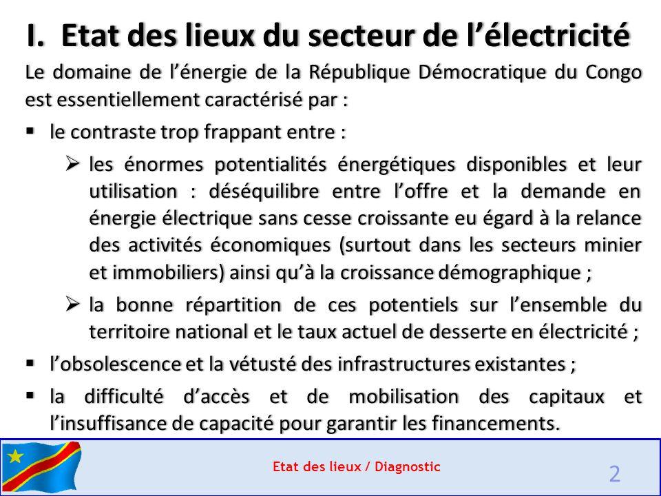 I. Etat des lieux du secteur de l'électricité
