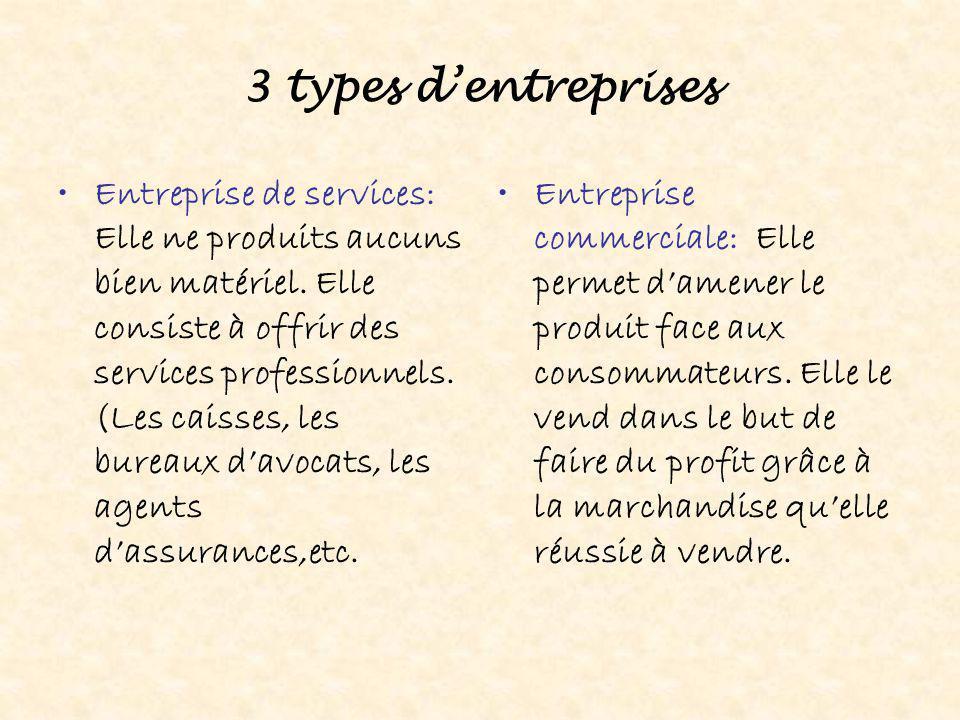 3 types d'entreprises