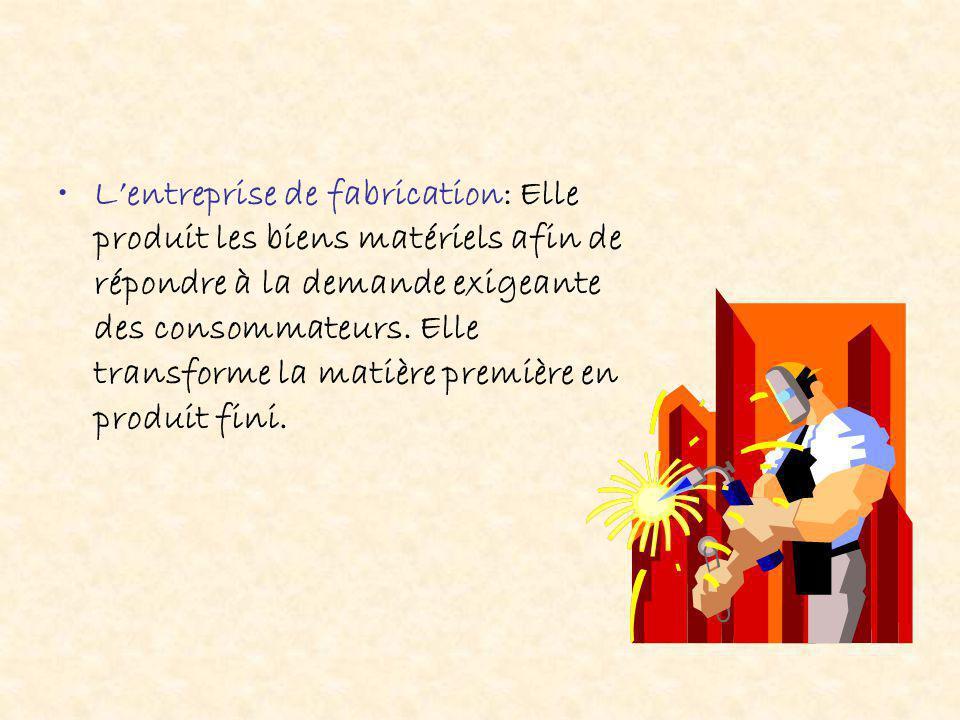 L'entreprise de fabrication: Elle produit les biens matériels afin de répondre à la demande exigeante des consommateurs.