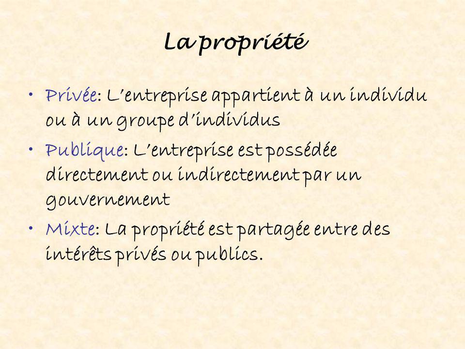 La propriété Privée: L'entreprise appartient à un individu ou à un groupe d'individus.