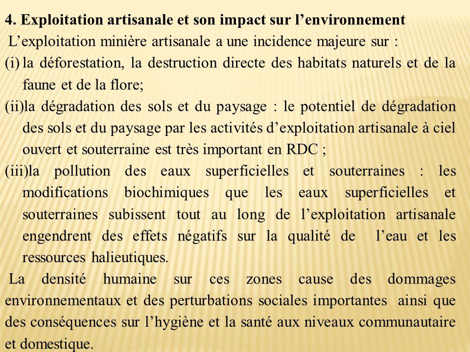 4. Exploitation artisanale et son impact sur l'environnement