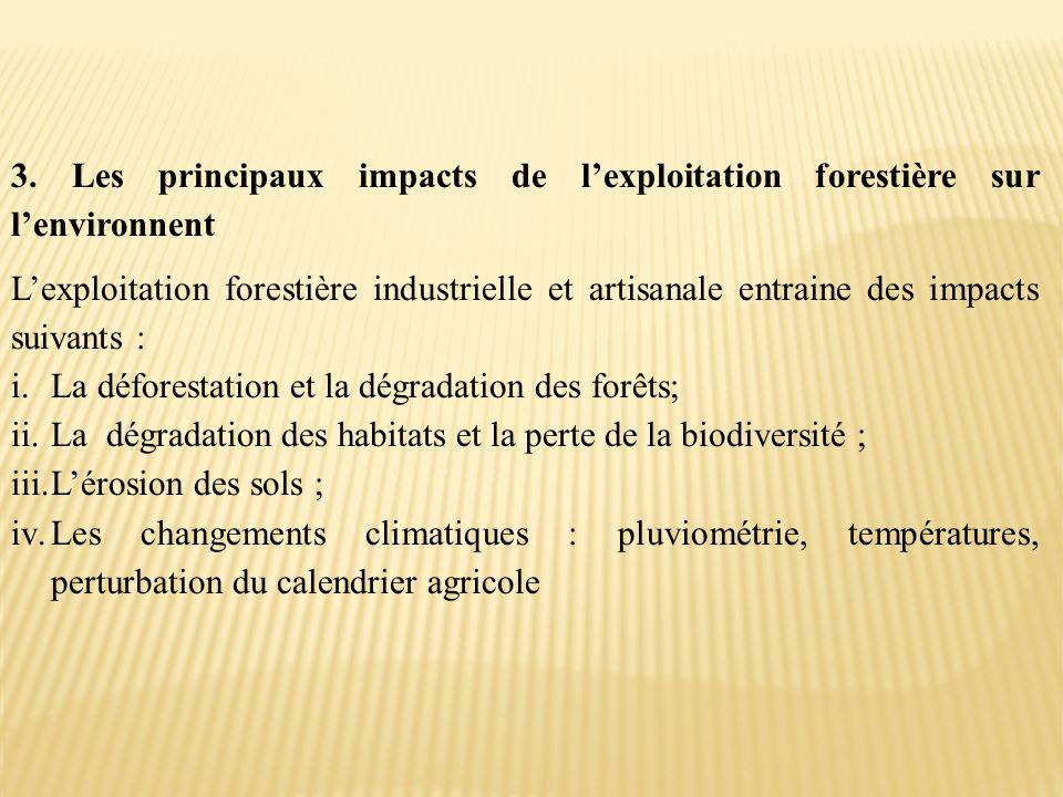 3. Les principaux impacts de l'exploitation forestière sur l'environnent