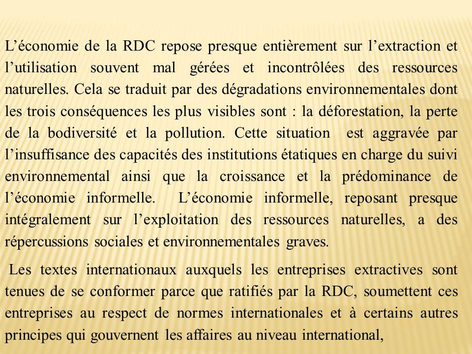 L'économie de la RDC repose presque entièrement sur l'extraction et l'utilisation souvent mal gérées et incontrôlées des ressources naturelles. Cela se traduit par des dégradations environnementales dont les trois conséquences les plus visibles sont : la déforestation, la perte de la bodiversité et la pollution. Cette situation est aggravée par l'insuffisance des capacités des institutions étatiques en charge du suivi environnemental ainsi que la croissance et la prédominance de l'économie informelle. L'économie informelle, reposant presque intégralement sur l'exploitation des ressources naturelles, a des répercussions sociales et environnementales graves.