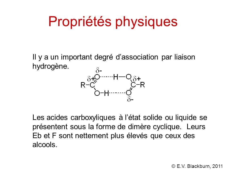 Propriétés physiques Il y a un important degré d'association par liaison hydrogène.