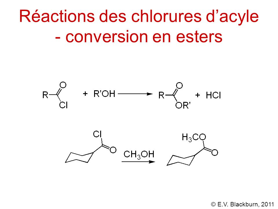 Réactions des chlorures d'acyle - conversion en esters