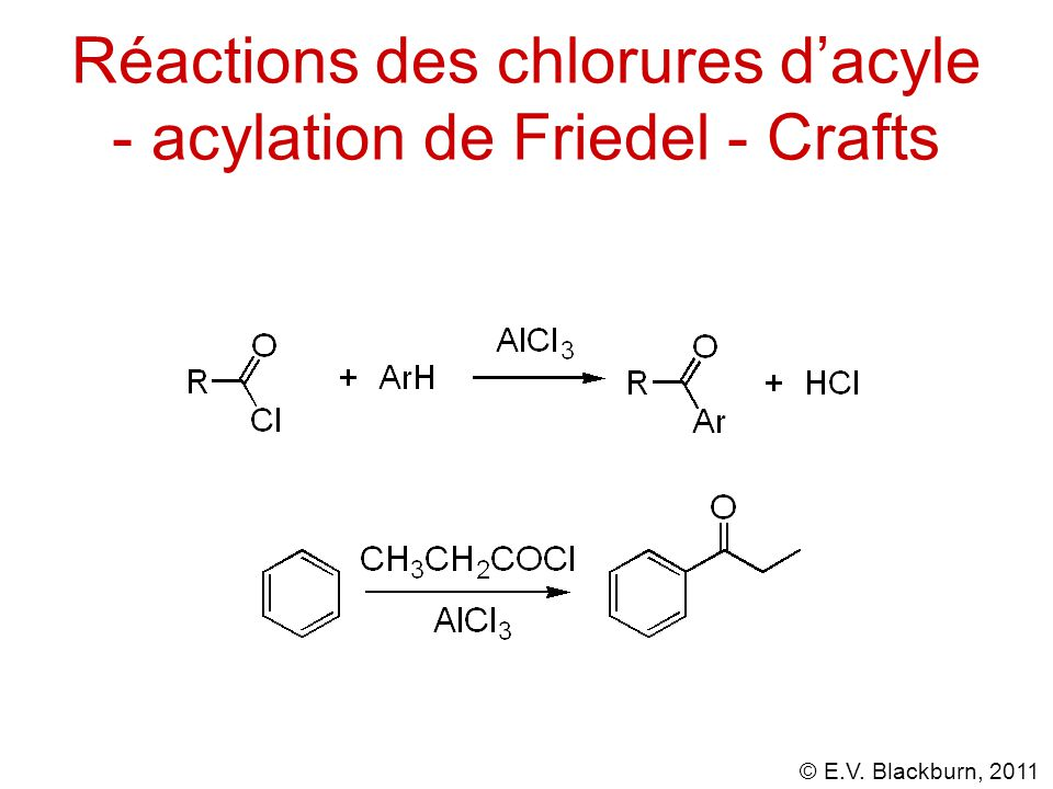 Réactions des chlorures d'acyle - acylation de Friedel - Crafts