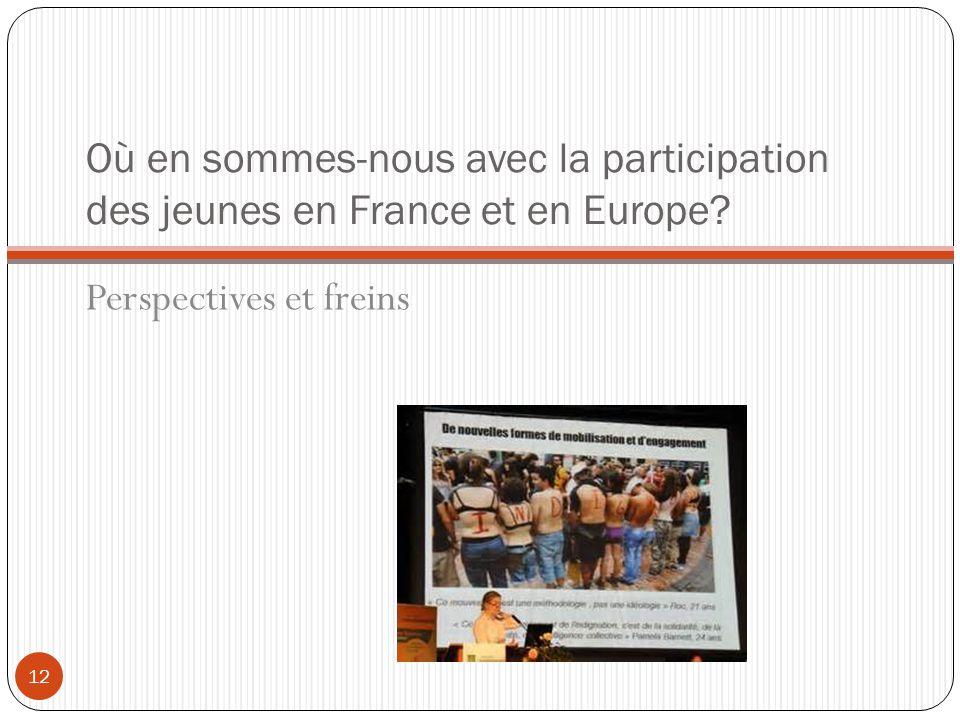 Où en sommes-nous avec la participation des jeunes en France et en Europe