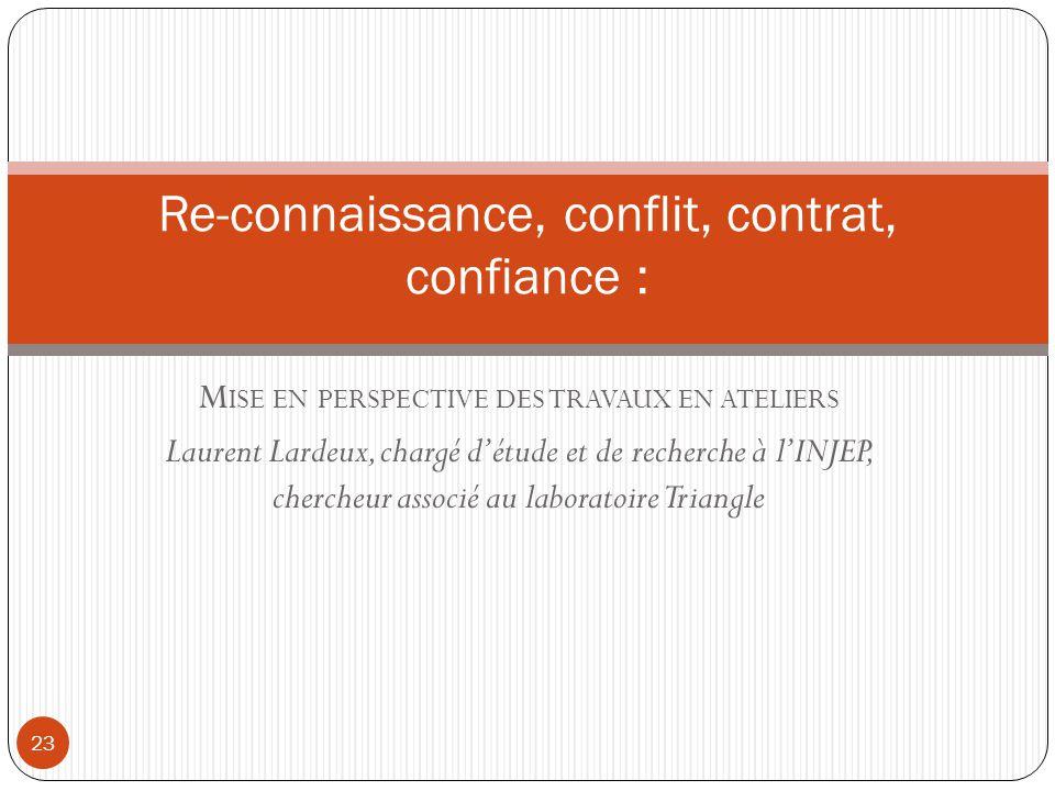 Re-connaissance, conflit, contrat, confiance :
