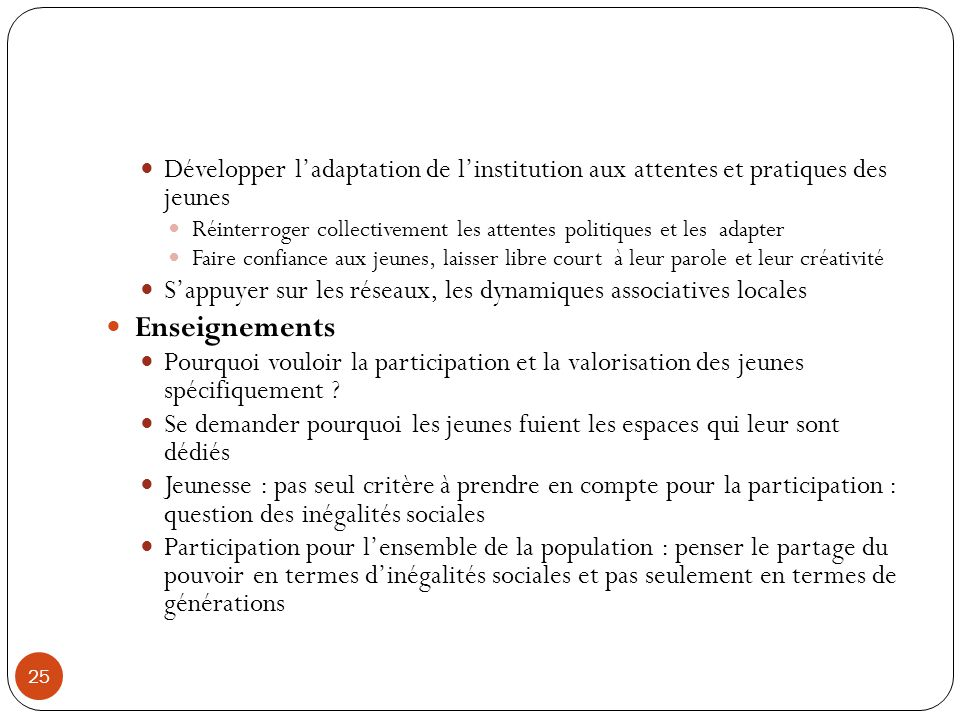Développer l'adaptation de l'institution aux attentes et pratiques des jeunes