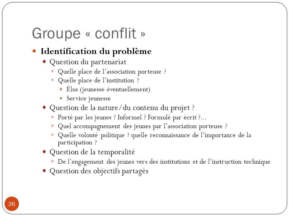 Groupe « conflit » Identification du problème Question du partenariat