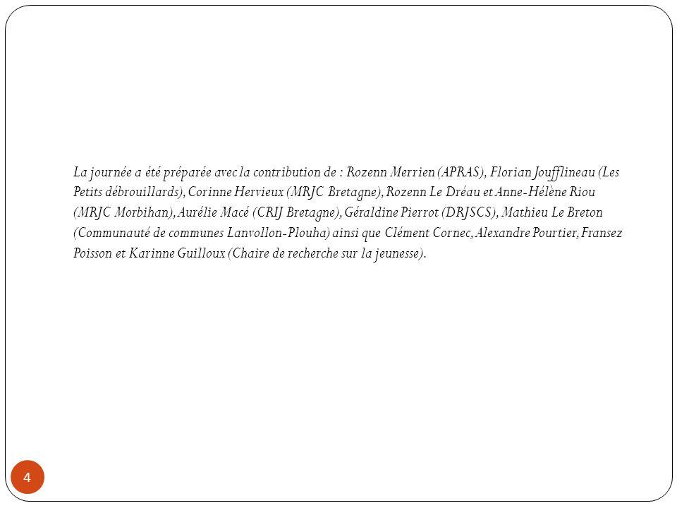 La journée a été préparée avec la contribution de : Rozenn Merrien (APRAS), Florian Joufflineau (Les Petits débrouillards), Corinne Hervieux (MRJC Bretagne), Rozenn Le Dréau et Anne-Hélène Riou (MRJC Morbihan), Aurélie Macé (CRIJ Bretagne), Géraldine Pierrot (DRJSCS), Mathieu Le Breton (Communauté de communes Lanvollon-Plouha) ainsi que Clément Cornec, Alexandre Pourtier, Fransez Poisson et Karinne Guilloux (Chaire de recherche sur la jeunesse).