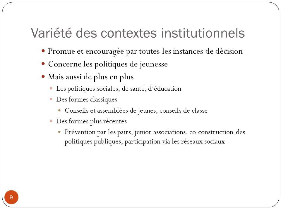 Variété des contextes institutionnels