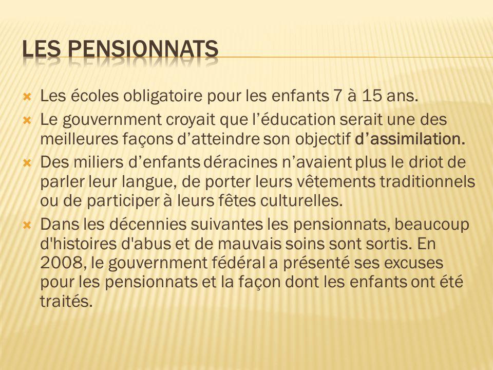Les pensionnats Les écoles obligatoire pour les enfants 7 à 15 ans.