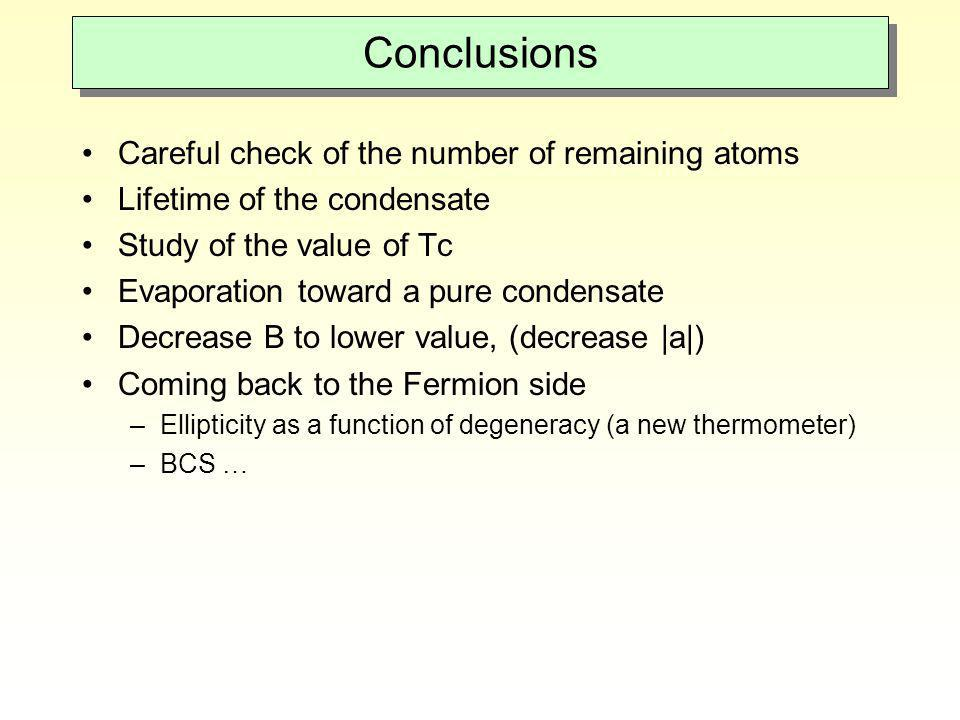 Conclusions Careful check of the number of remaining atoms