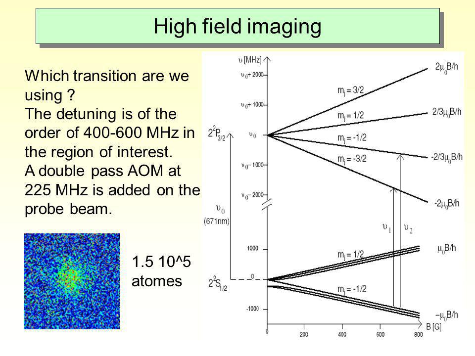 High field imaging Which transition are we using