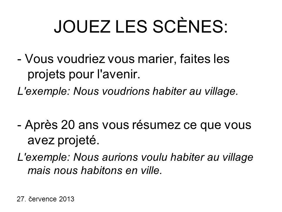 JOUEZ LES SCÈNES: - Vous voudriez vous marier, faites les projets pour l avenir. L exemple: Nous voudrions habiter au village.