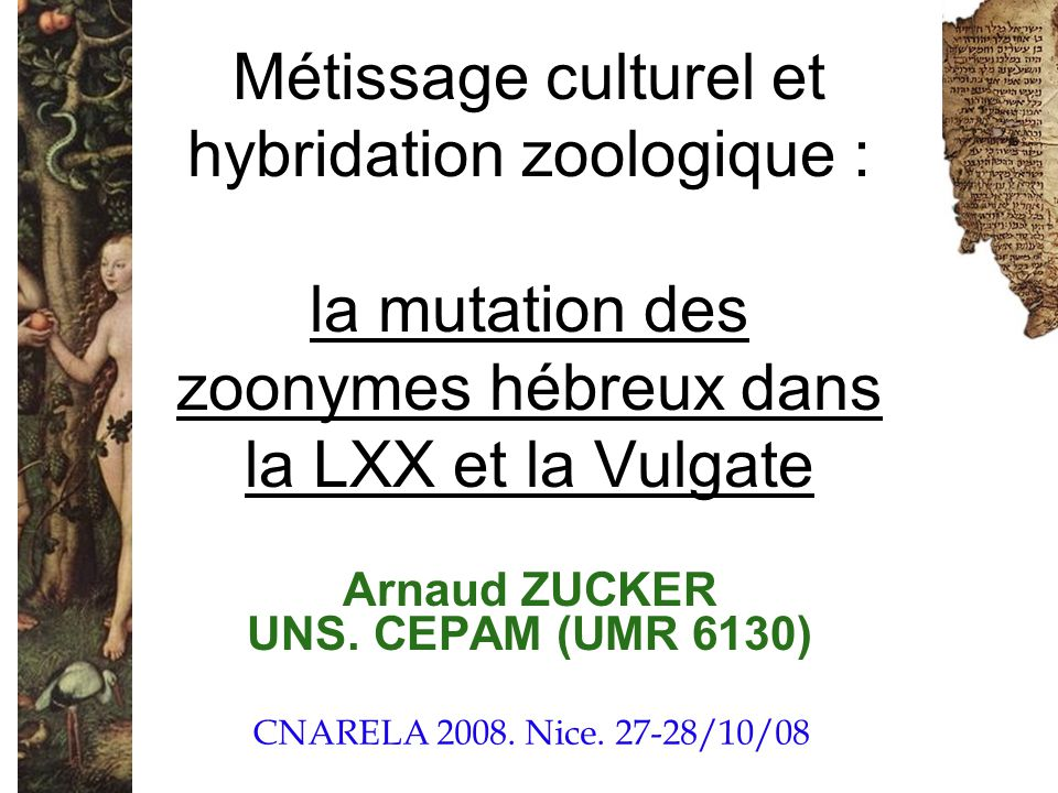 Arnaud ZUCKER UNS. CEPAM (UMR 6130)