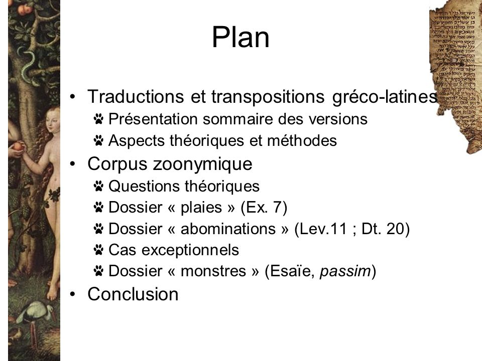 Plan Traductions et transpositions gréco-latines Corpus zoonymique