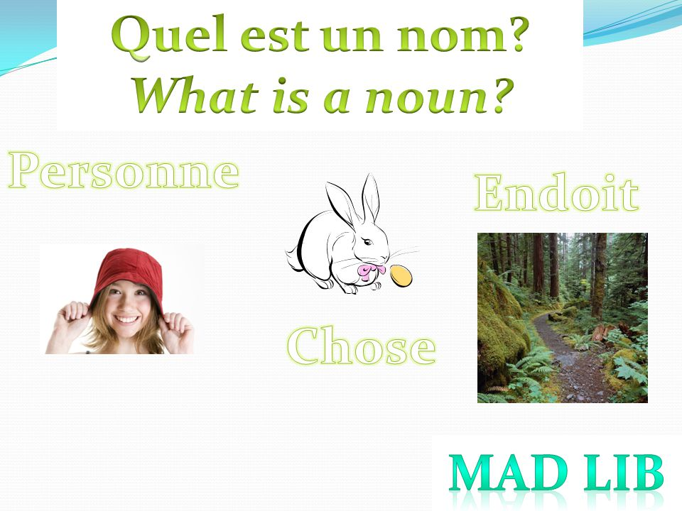Quel est un nom What is a noun Personne Endoit Chose Mad Lib