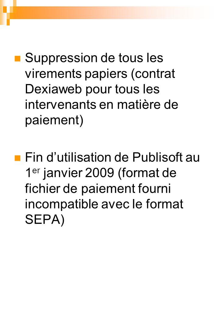 Suppression de tous les virements papiers (contrat Dexiaweb pour tous les intervenants en matière de paiement)