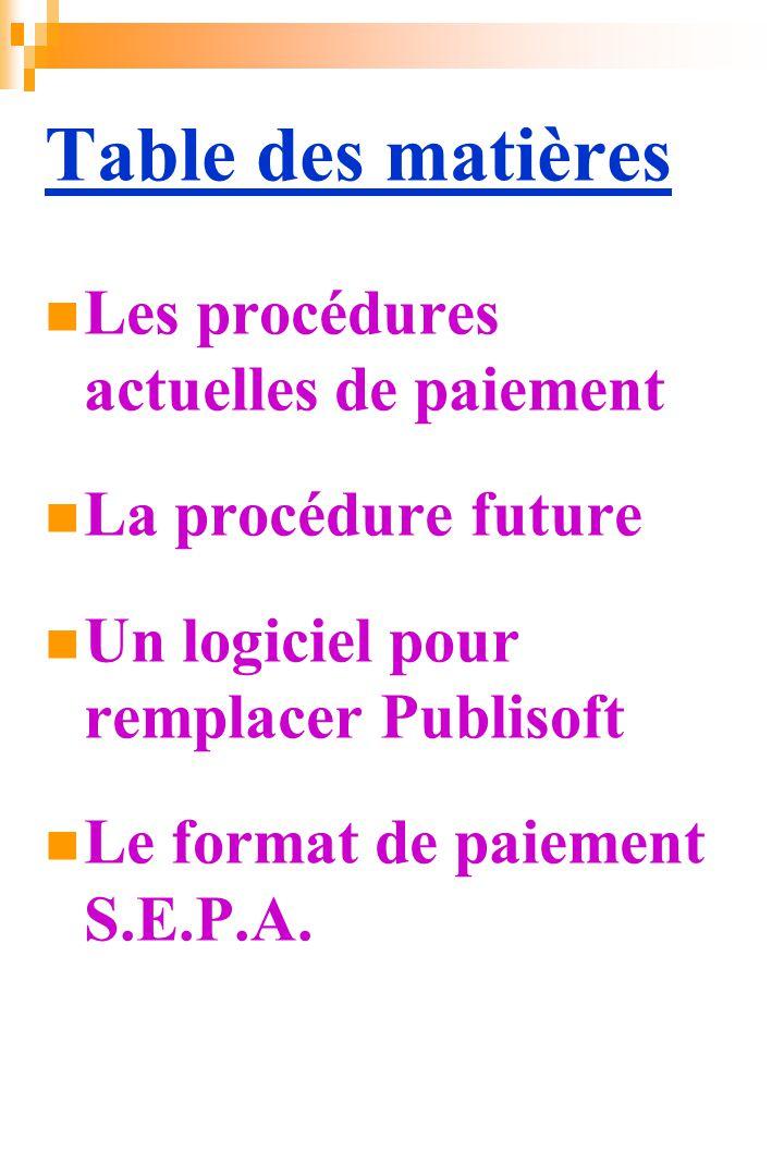 Table des matières Les procédures actuelles de paiement