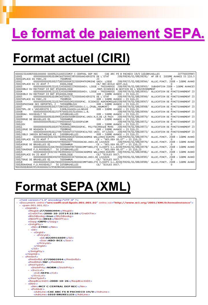 Le format de paiement SEPA.