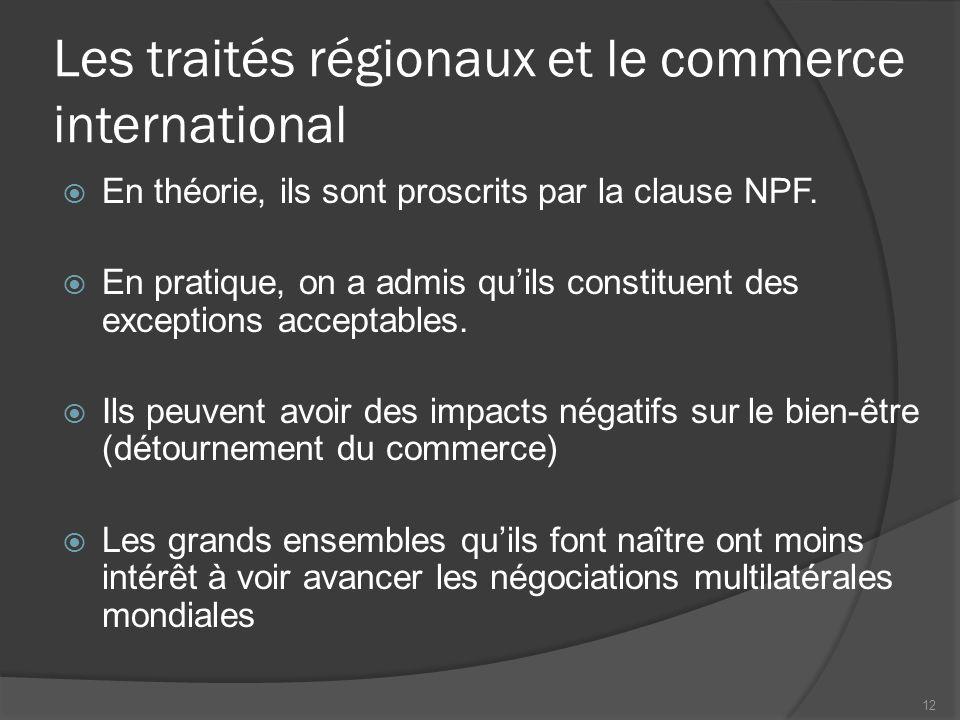 Les traités régionaux et le commerce international