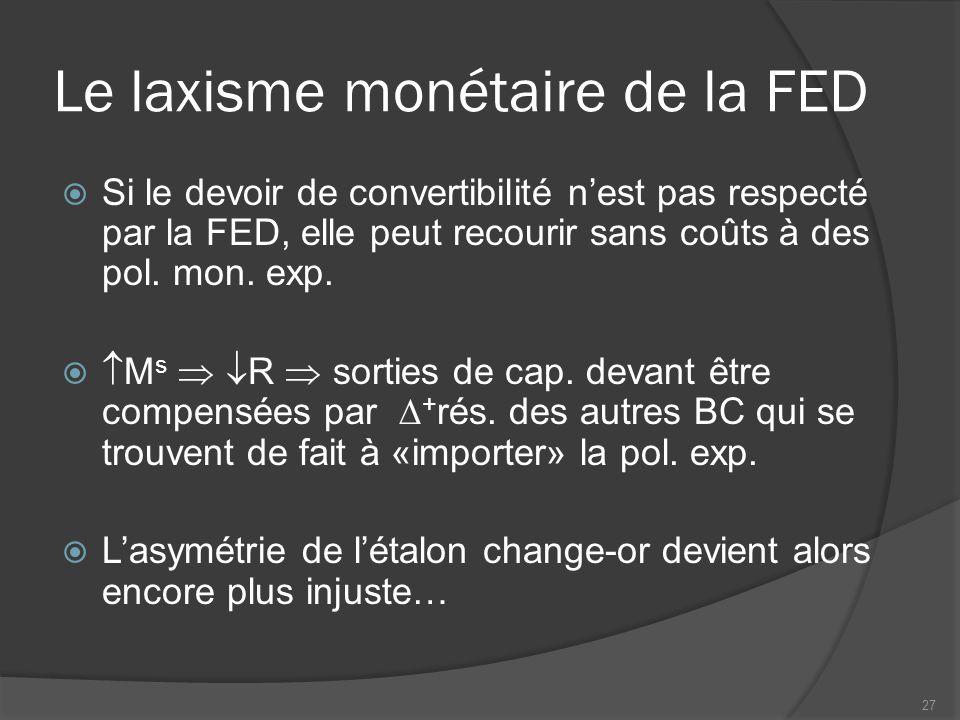 Le laxisme monétaire de la FED