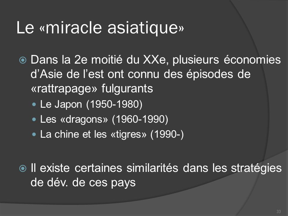 Le «miracle asiatique»