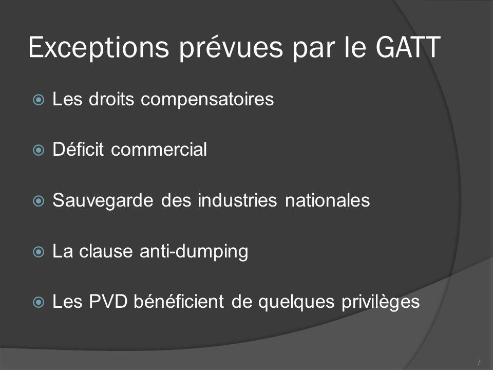 Exceptions prévues par le GATT