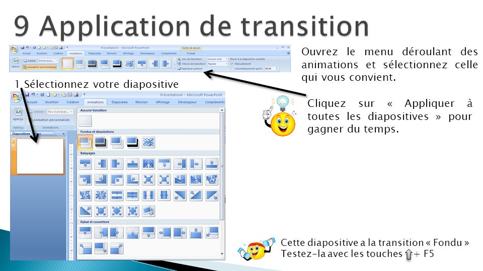 9 Application de transition