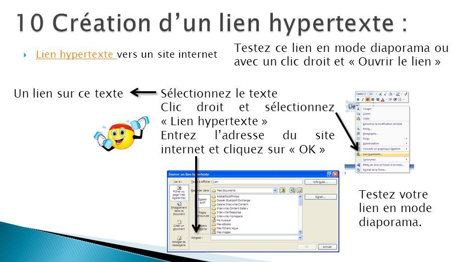 10 Création d'un lien hypertexte :