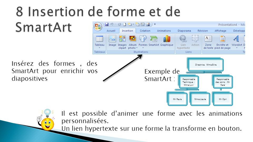 8 Insertion de forme et de SmartArt